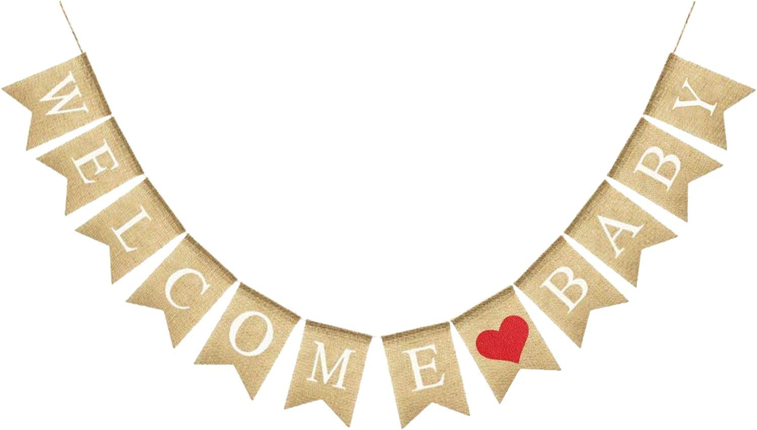 Real Burlap Welcome Baby Banner – Great For Gender Neutral Baby Shower Decor| Gender Reveal Party Decorations Supplies, PhotoBooth and Dessert Table Decorations, Mantle, Fireplace