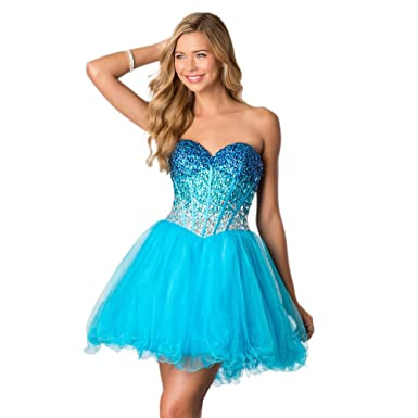 Alyce Paris Strapless Tulle Cocktail Dress Turquoise - 8