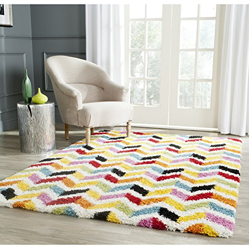 - Safavieh Kids Shag Collection SGK565A Ivory and Multi Area Rug (8'6