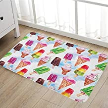 """Ice Cream door mats for inside Surreal Exotic Type Ice Cream Motif with Raspberry Kiwi Flavor Colorful Display Bath Mat for tub Bathroom Mat 16""""x24"""" Multicolor"""