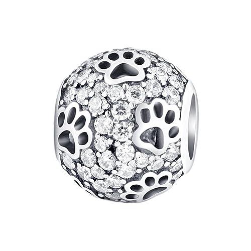 più foto 12600 64304 Amato Jewellery, ciondolo per bracciali o collane in argento Sterling 925  con impronte di cane o gatto, per mamme, sorelle, figlie e bambini