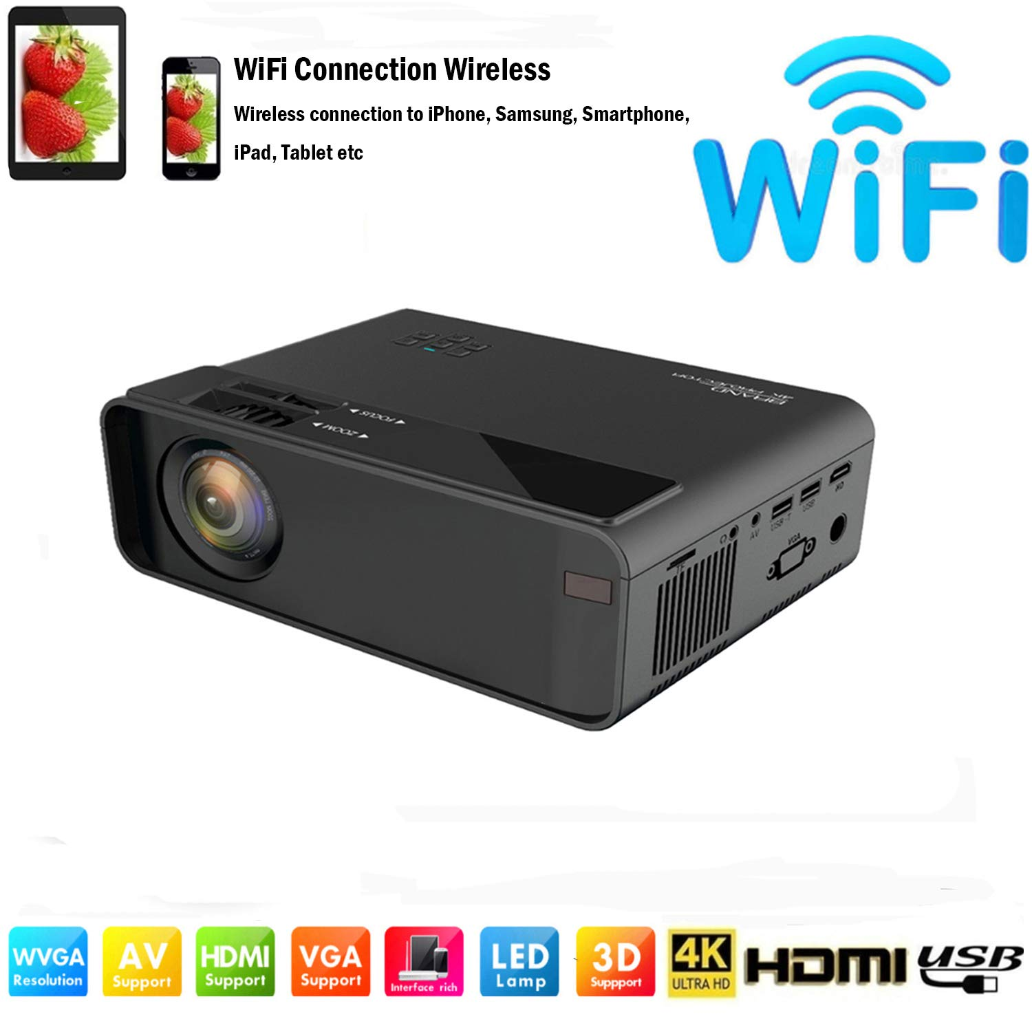 SOTEFE Mini LED Projector Portable 7000 Lumens-WiFi Video Projectors 1080P Full HD for iPhone Samsung Smartphone Wireless Projector HDMI 75000 Hours Multimedia Home Projector Office Theater Movie by SOTEFE