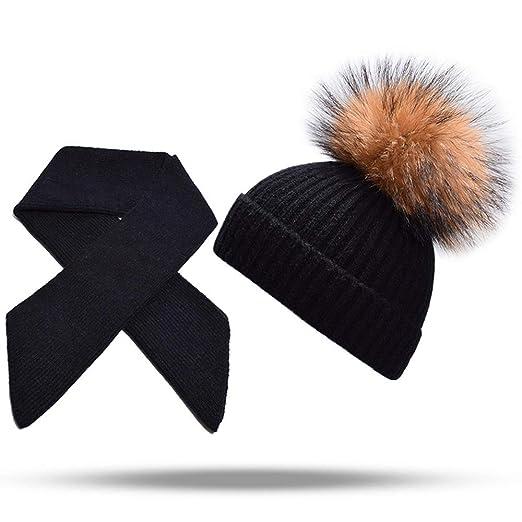 c379967fb68 IMYQMYWLE 2PCS Cashmere Beanie Hat Scarf Set Parent-Child Knitted Pom Pom  Hats Winter Warm