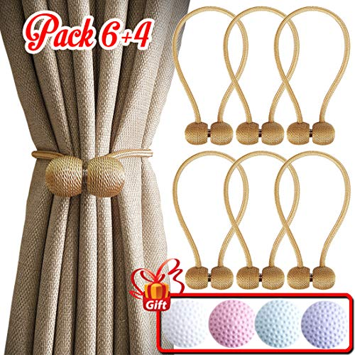 Magnetic Curtain Tiebacks - Drape Holders Holdbacks Decorative for Any Window or Door Draperies (Big Size 18.5 Inch and Adjust Length Freely - Pack 6 + 4) (Gold) (Holdback Decorative)