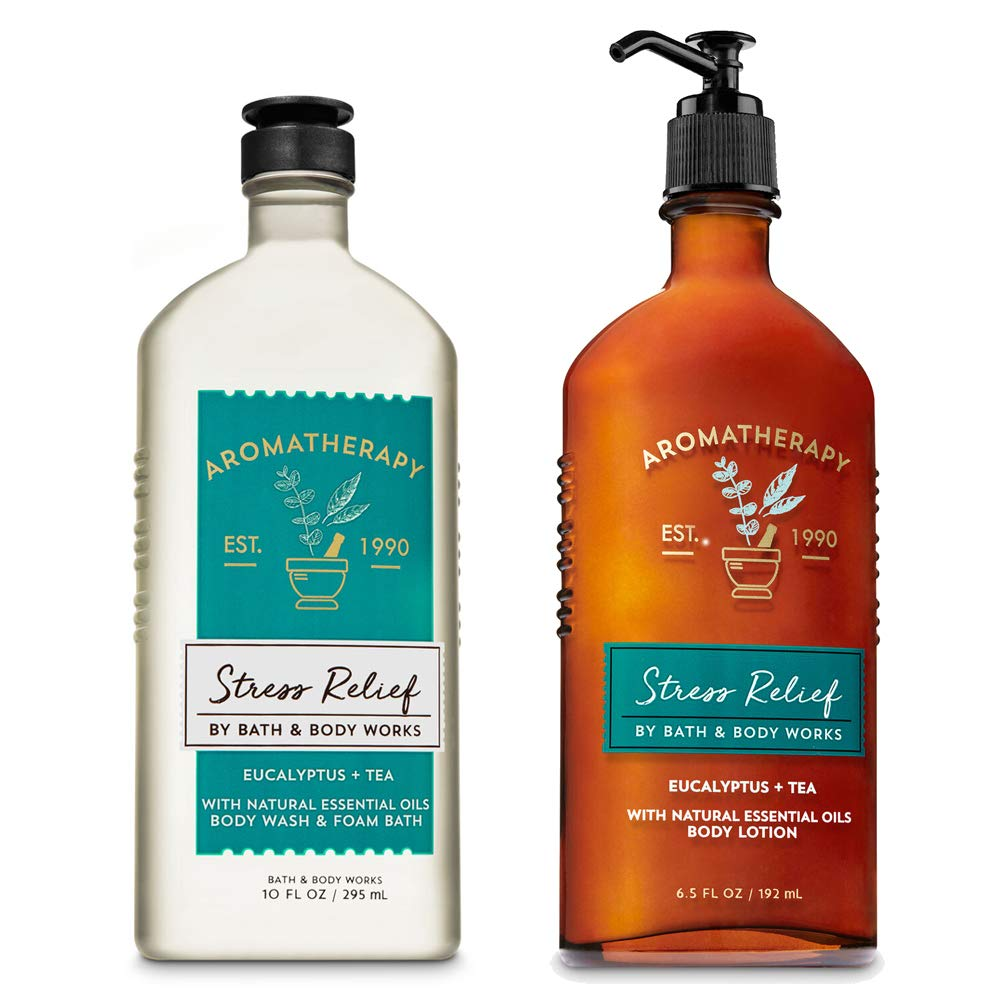 Bath & Body Works Aromatherapy Stress Relief Eucalyptus Tea Body Lotion, Body Wash and Foam Bath with Natural Essential Oils Pack of 2