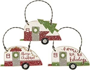 PBK Small Retro Camper Christmas Tree Ornaments - Set of 3 - Perfect for Mini Tree or Gift Wrap Accent