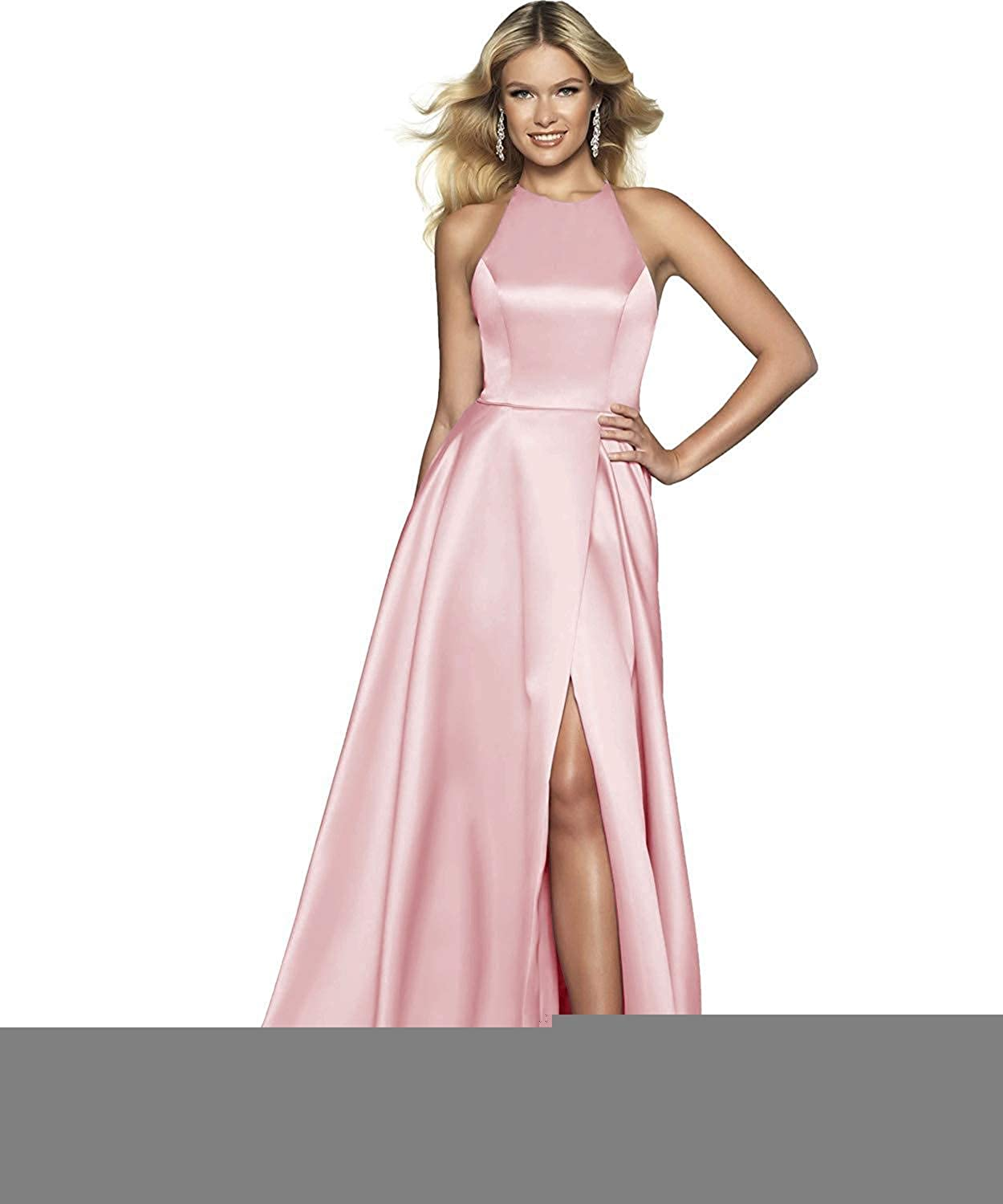 Pink NewFex Halter Prom Gowns with Pockets Satin Aline 2019 Split Formal Evening Dresses