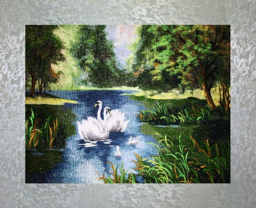 (PEA Designs, Swan Lake Wall Décor, Premier 1/4 Thread Stitching, Chinese Su Embroidery Pattern, Timeless Wall Hanging Artwork, Elegant Needlepoint Tapestry, Traditional Wall Art for Room Decoration, Unique Housewarming Gift Idea, 28-5/64