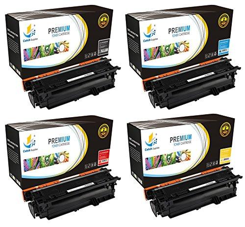 Laserjet 500 M575c Laser - Catch Supplies 507A 4 Pack Premium Replacement Toner Cartridge Compatible with HP LaserJet 500 M551dn, MFP M575dn, Pro M570dn M575c Printers |CE400A Black, CE401A Cyan, CE402A Yellow, CE403A Magenta|