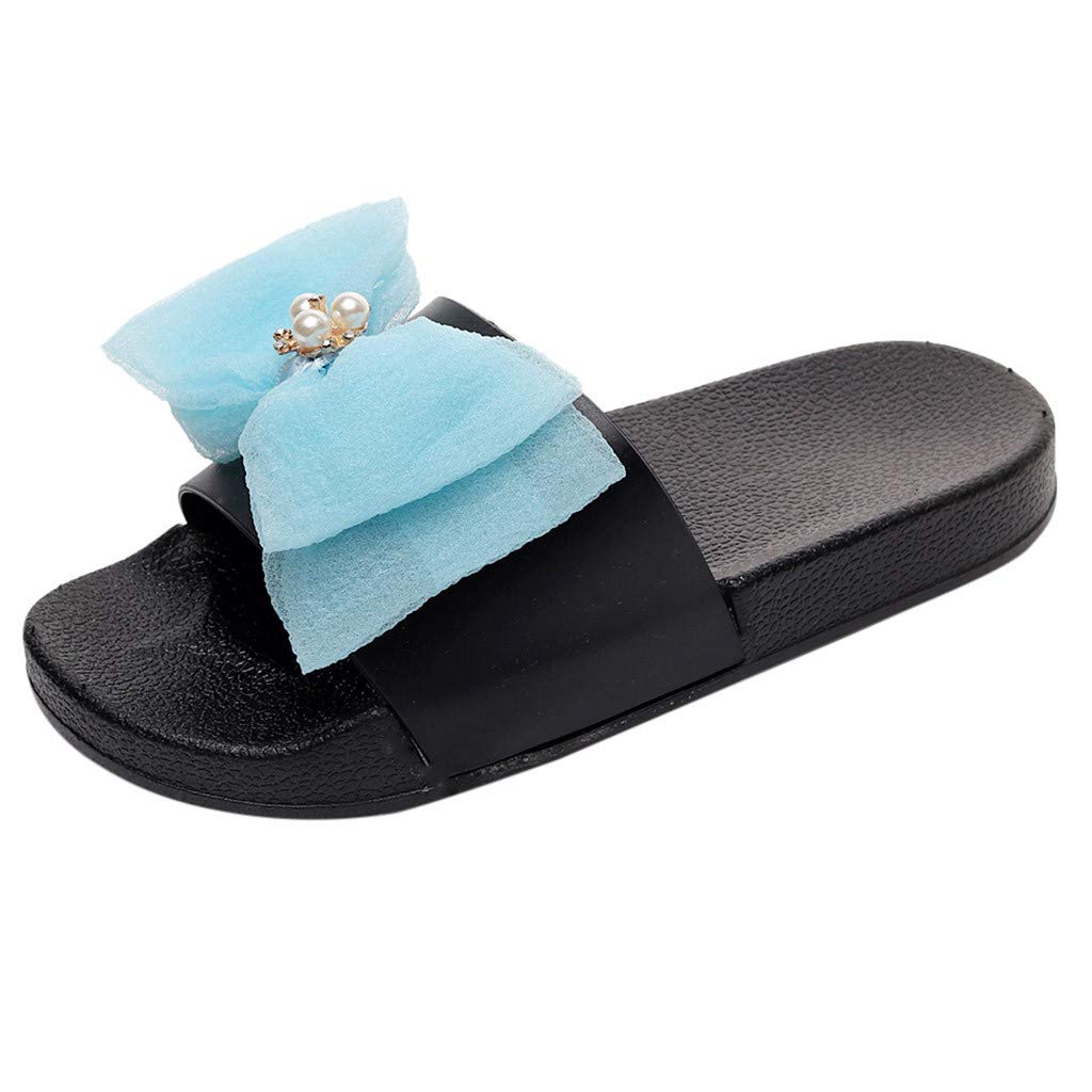 GONKOMA Women's Summer Bowknot Crystal Flat Slide Sandals Slippers Beach Shoes Light Blue