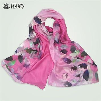 YRXDD Primavera y otoño bufandas de seda hembra de espesor de hilado extranjero de inyección de
