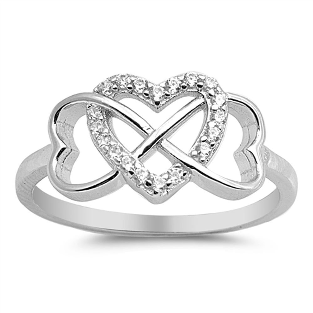 Double Heart Infinity Knot Promise White CZ Ring .925 Sterling Silver Sizes 4-10 Sac Silver