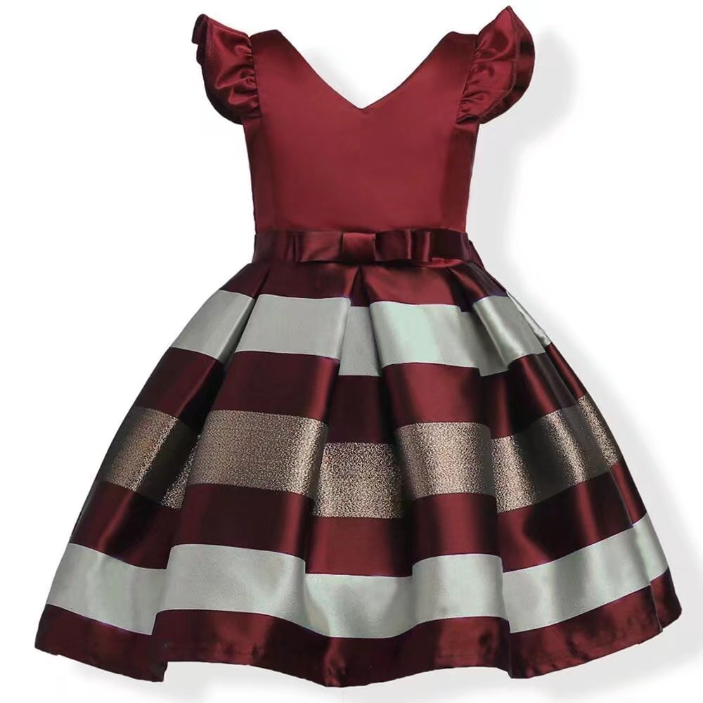 ZAH Girl Dress Kids Ruffles Lace Party Wedding Bridesmaid Dresses(Burgundy,5-6Y)