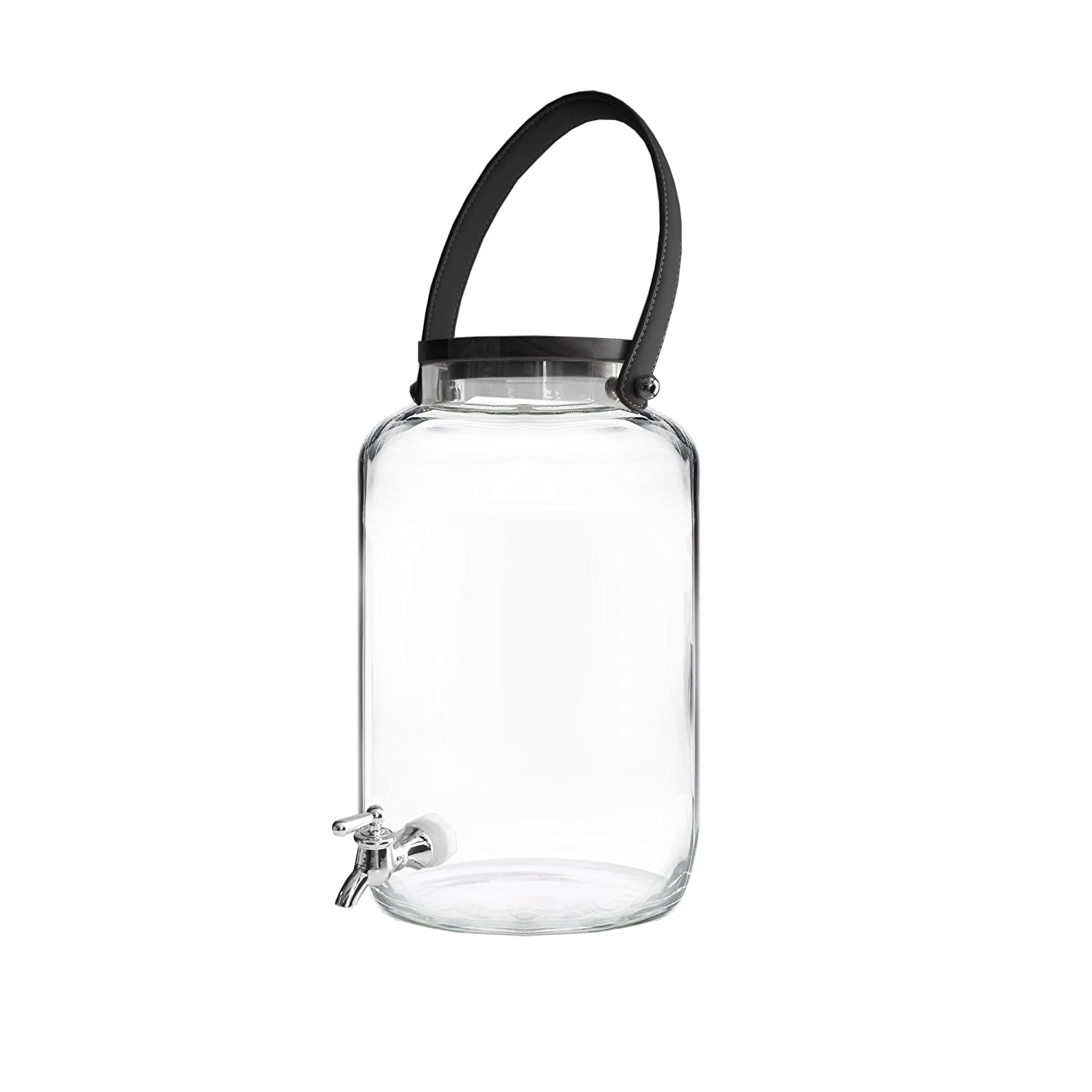 Fifth Avenue Crystal Kent 210426 2 Gallon Hand Blown Glass Beverage Drink Dispenser with Leather Handle 8.5 x 14.2 Black//Clear
