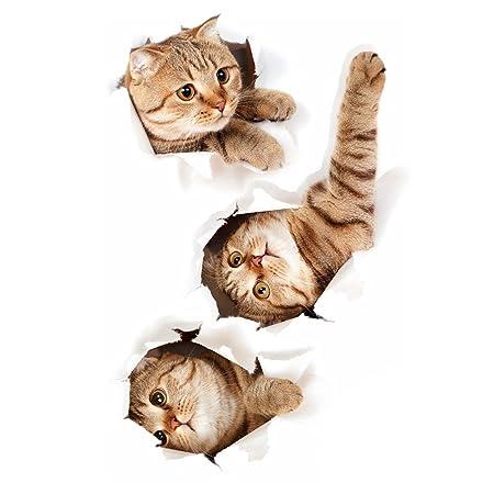 Gosear 3D Mural extraíble Impermeable Gatos Pared Pegatinas para ...