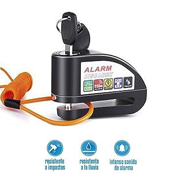 EZTECH Candado de disco con alarma y RESISTENTE AL AGUA, con estuche y cable 1,5 m. Candado de moto de acero con alarma de 110db pilas incluidas. ...