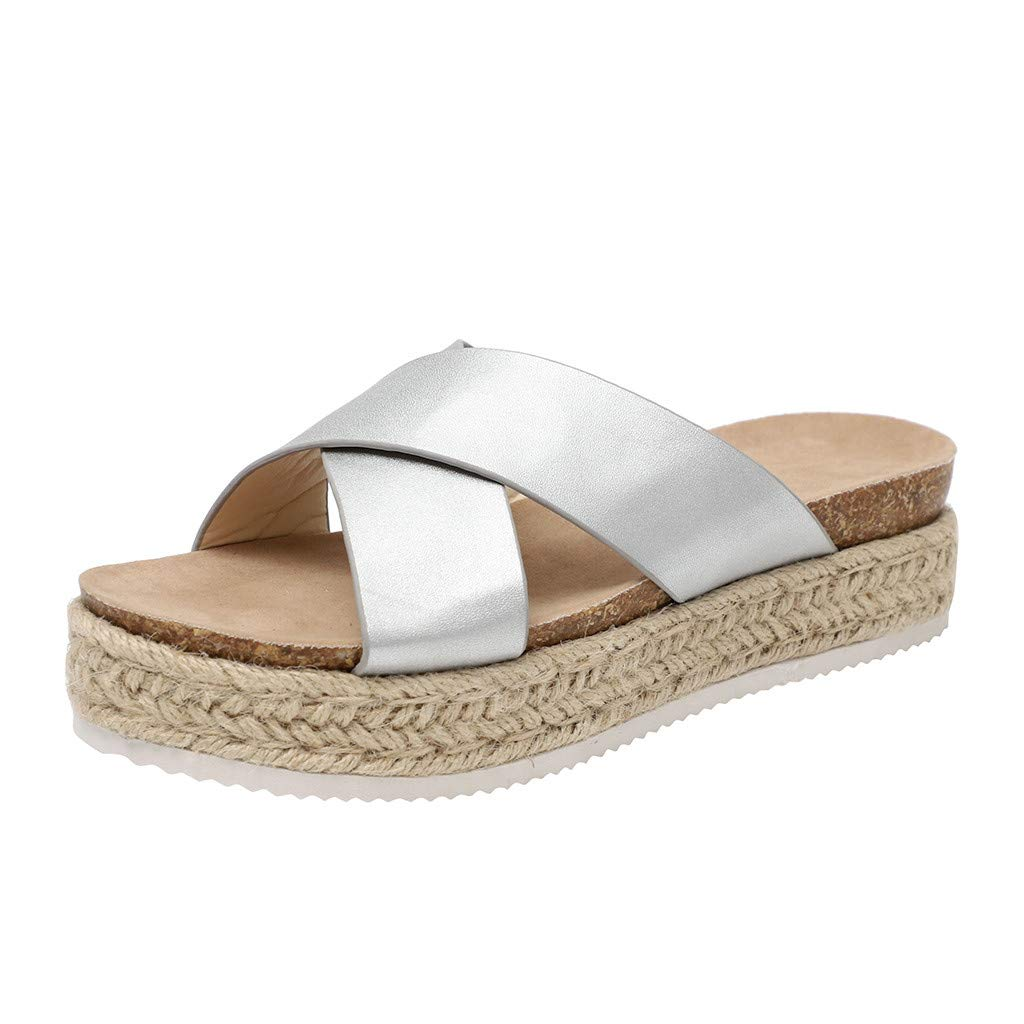 Women's Platform Sandals Wedge Open Toe Sandals Women's Fashion Casual Thick-Bottom Slides Sandals Platform Beach Shoes Slippers Retro Peep Toe Sandals (35 EU/5 US, Sliver)