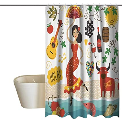 Anshesix Spain Shower Curtain Set Landmarks And Symbols Flamenco Barcelona Spanish Seafood Europe Vacation Travel