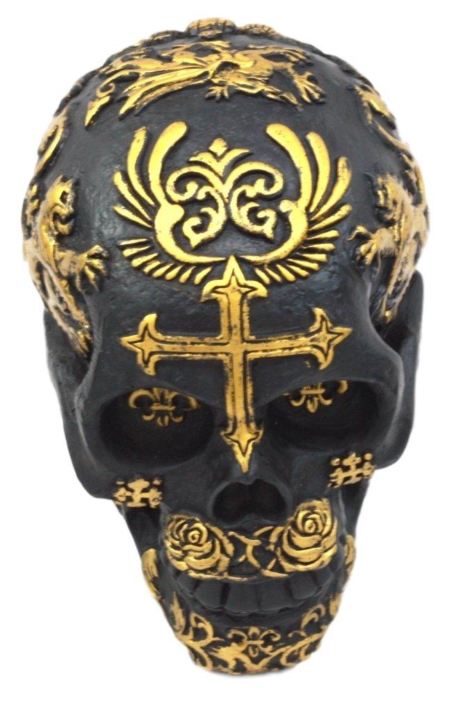 Ebros Gift Coat of Arms Templar Saint George Skull Figurine Resin Statue