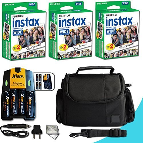 Xtech FujiFilm Instax Accessories Kit for Fujifilm Instax 210 WIDE includes: 60 Instax WIDE Film + 4AA Batteries (3100mAH) + AC/DC Quick Charger + Custom Fitted Case + Screen Protectors + MORE by Xtech