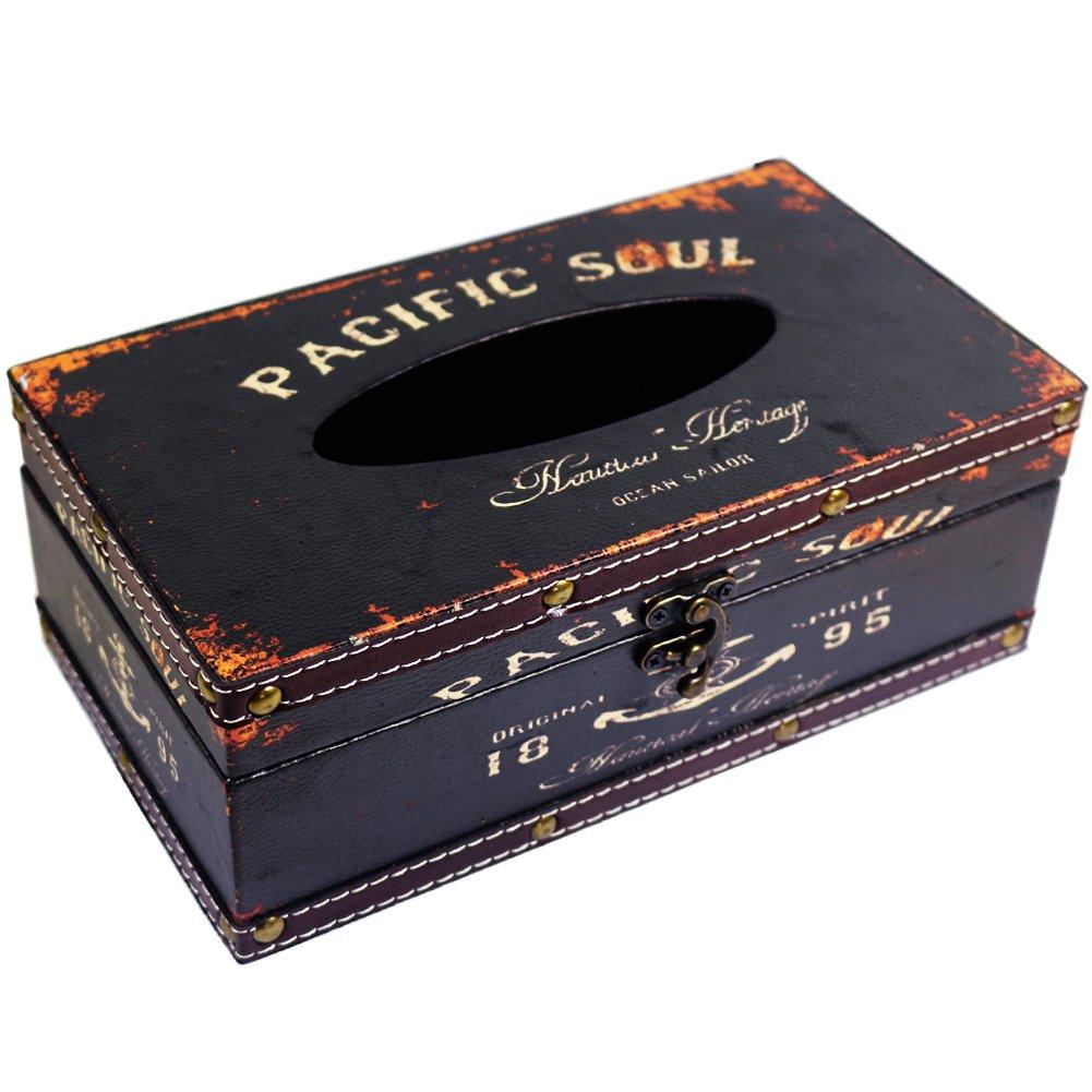 (Black Pacific Soul) Retro Vintage Rustic Wood Tissue Holder Box Cover Facial Tissue Paper Dispenser Anchor Design Tissue Holder Home Decor by KiaoTime