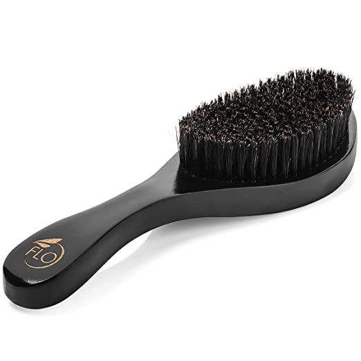 Mens Hair Brush by FLO - Medium Boar and Nylon Bristle Men's Hairbrush Set - Long Curved Wooden Handle - Includes Black Plastic Brush Cleaner and Soft Carry Bag with Drawstring