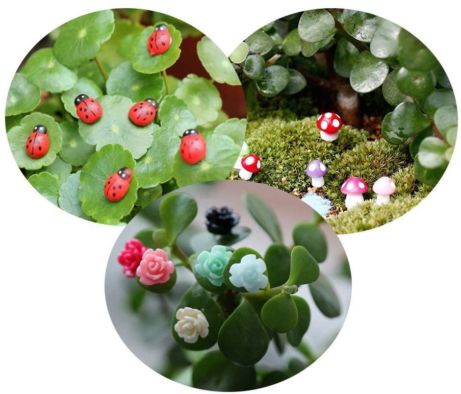 Tophappy 100pcs Miniature Fairy Garden Ornaments Kit Set, Ladybugs,Mushrooms, Flowers with Tools for DIY Fairy Garden Dollhouse Décor