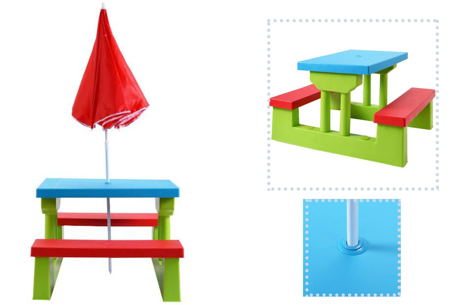 eXXtra Store Outdoor Children Folding Bench Table With Umbrella Garden Picnic Kids 4 Seat Yard + eBook