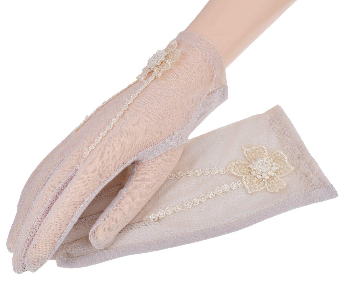 Nurbijar Summer Women UV Protection Touch Screen Lace Gloves-Beige