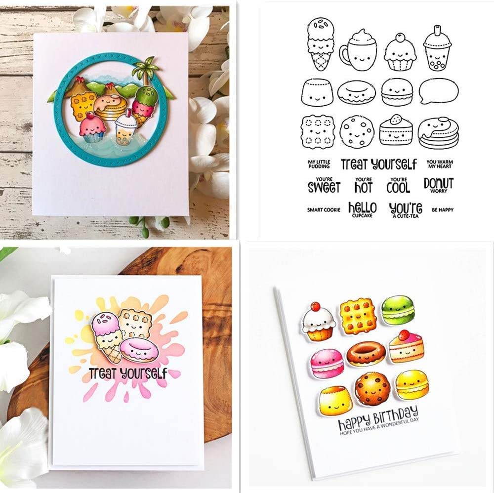 CYFUN DESIGN Hello Cupcake Milktea Ice Cream Doughnuts Cookie Desserts Stamps Treat Yourself Be Happy Transparent Silicone Clear Stamp for Card Making and DIY Scrapbooking Handmade Craft