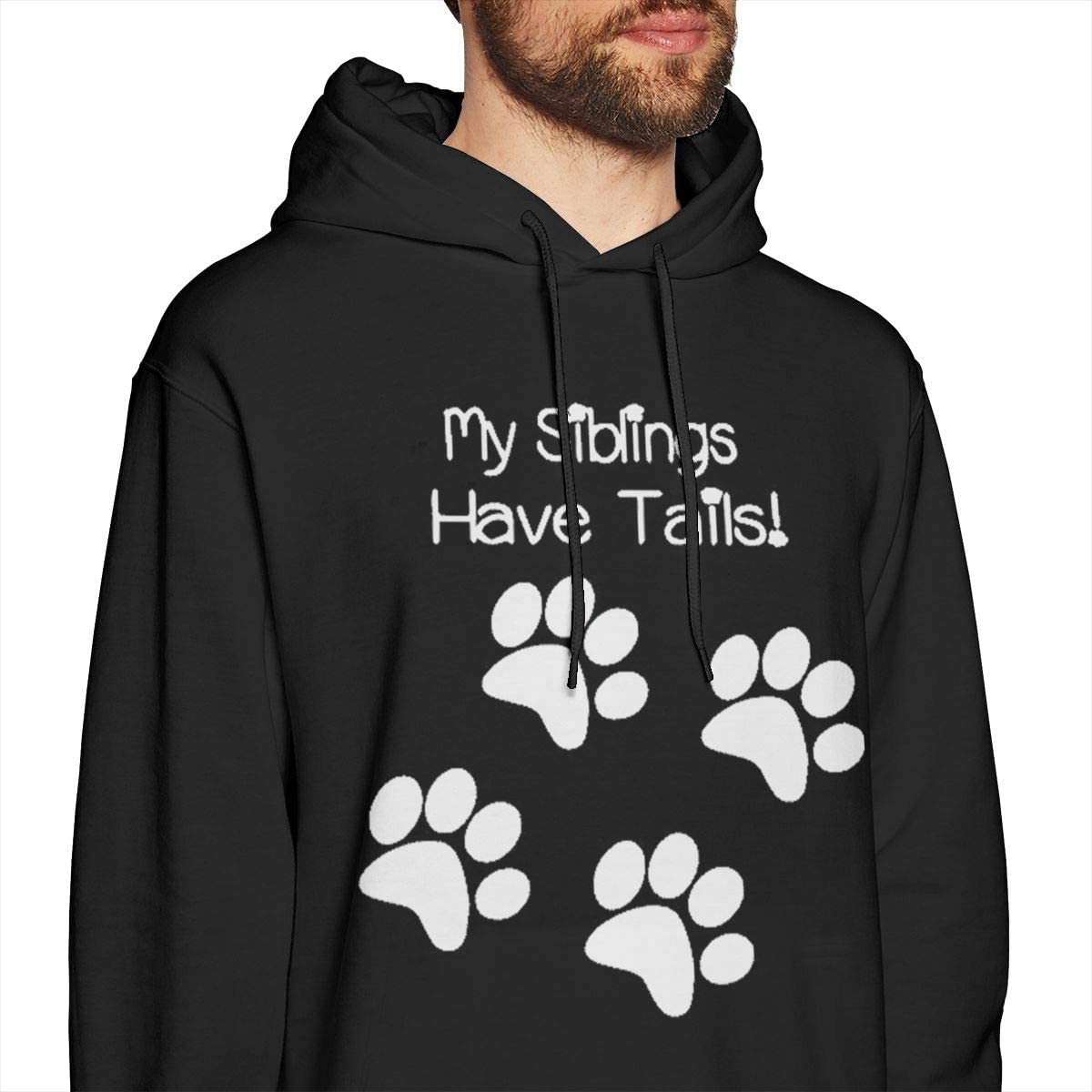 Marsherun Men My Siblings Have Tails Pullover Fleece Hoodie Sweatshirt