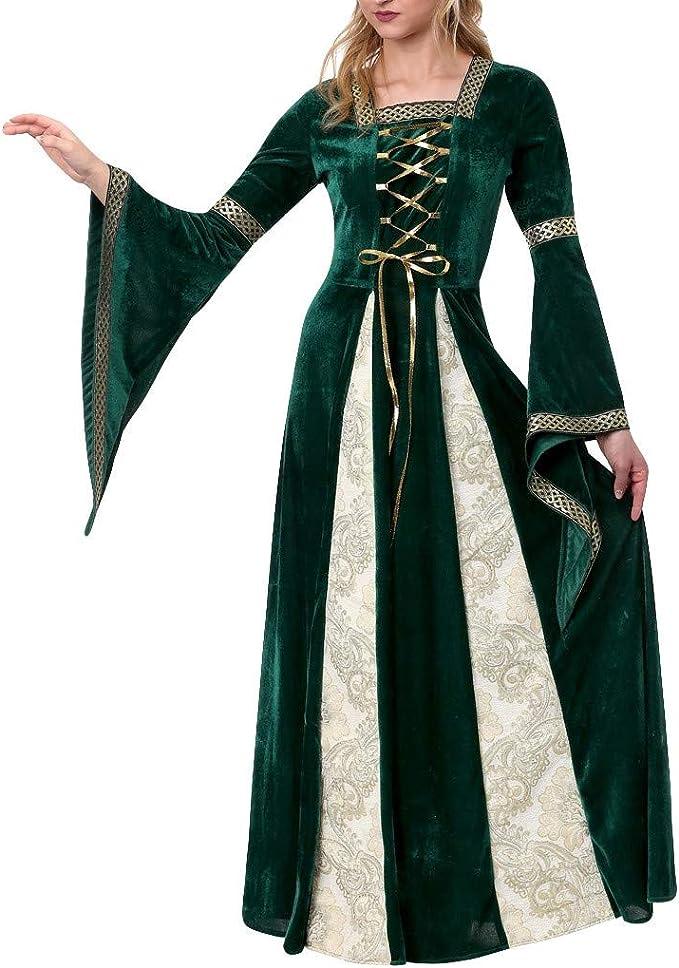Halloween Disfraces para Mujer, Vestido Largo de Bruja Mágica ...