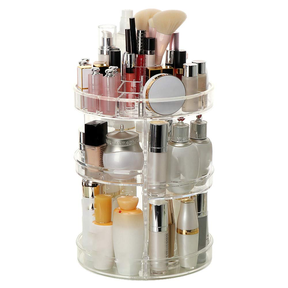 360 Degree Rotating Makeup Perfume Organizer Storage Carousel Adjustable Multi-Function Cosmetic Box Make Up Display Stand