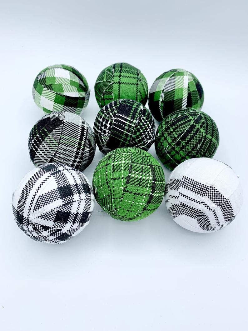 Green Black White Plaid Christmas Holiday Fabric Wrapped Balls set of 9 country rustic orbs