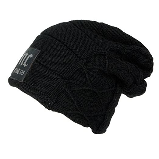 53a5b88cbc HSRT Mens Plus Velvet Thick Warm Knitted Hat Casual Letter Solid Slouchy  Beanie HatBlack