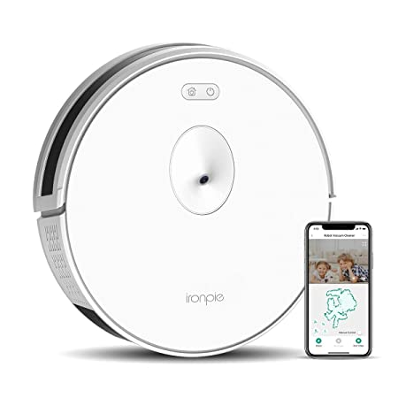 TRIFO Ironpie m6 Robot Vacuum Cleaner with Visual Navigation Camera, Remote Monitoring, 1800Pa Strong Suction, Self-Charging, Wi-Fi Connectivity, Ideal for Low-Pile Carpet and Hard Floor White