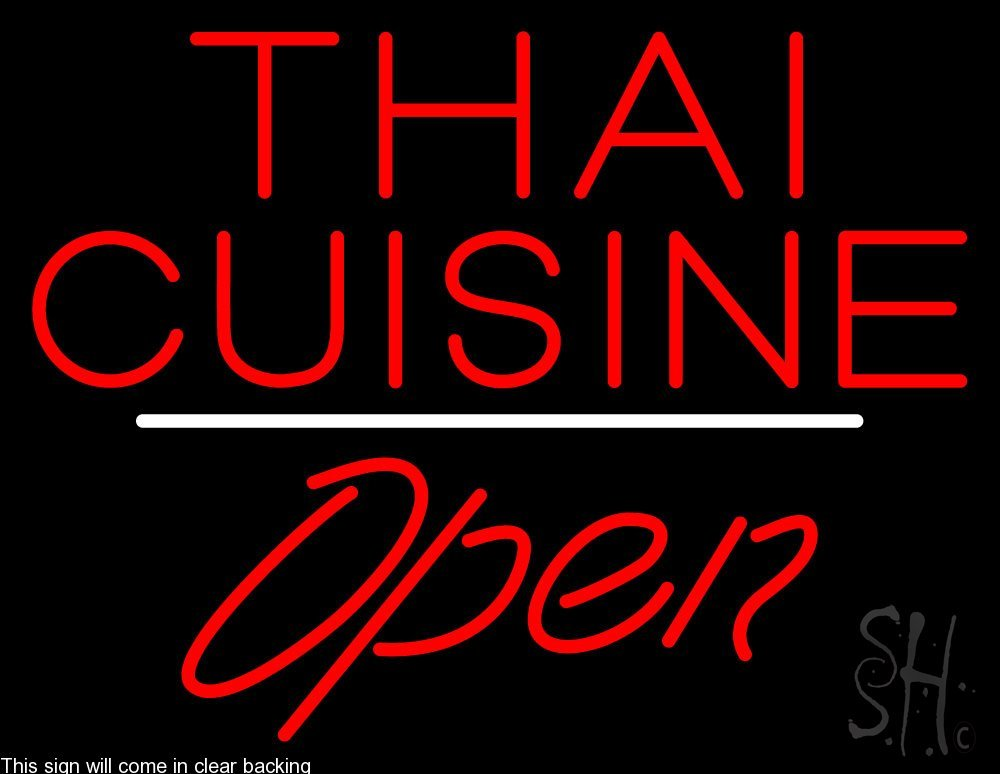 Thai Cuisine Script1 Open White Line Clear Backing Neon Sign 24'' Tall x 31'' Wide