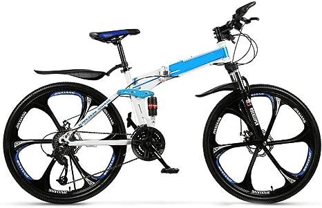 SYCHONG 21 Velocidad Plegable Bicicletas, 26 / De 24 Pulgadas De Bicicletas Plegables, Doble Freno De Disco, Pequeño Hombre Portátil Y Ocio Femenino De Bicicletas,Azul,24inches,26inches: Amazon.es: Deportes y aire libre