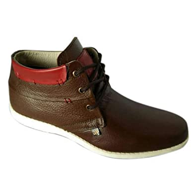a302f9bf22d70c Generic Men's Brown Leather Casual Shoes - 8: Buy Online at Low Prices in  India - Amazon.in