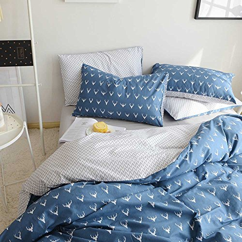 HIGHBUY Kids Boys Bedding Duvet Cover Set Twin Cotton Reversible Christmas Deer Pattern Blue Teen Girls Bedding Sets Twin 3 Piece Single Bed Comforter Covers with Zipper (Deer Bed Set)