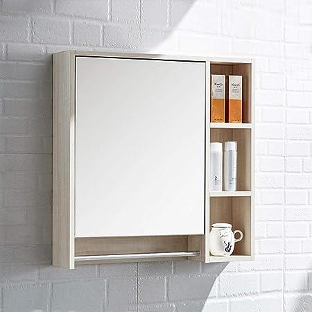 Armarios con espejo Mueble Espejo de baño de Madera Maciza Caja de Espejo de Pared Espejo de Lavabo alacena con toallero Espejos de Aumento de Pared (Color : Blanco, Size : 80 *