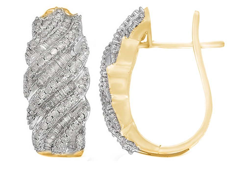 White Cubic Zirconia Hoop Earrings In 14k Yellow Gold Over Sterling Silver (1 Cttw)