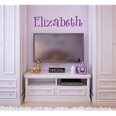 "Fancy Lovely Single Personalized Custom Name Vinyl Wall Art Decal Sticker 36"" W, Girl Name Decal, Girls Name, Nursery Name, Girls Name Decor, Girls Bedroom Decor, Plus Free 12"" White Hello Door Decal: Baby"