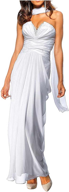 Heine Damen-Kleid Abendkleid mit Schal Wei/ß Gr/ö/ße 20 40