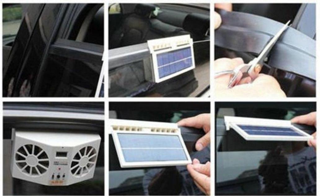 Transer Solar Powered Car Window Air Vent Ventilator Mini Air Conditioner Cool Fan Black