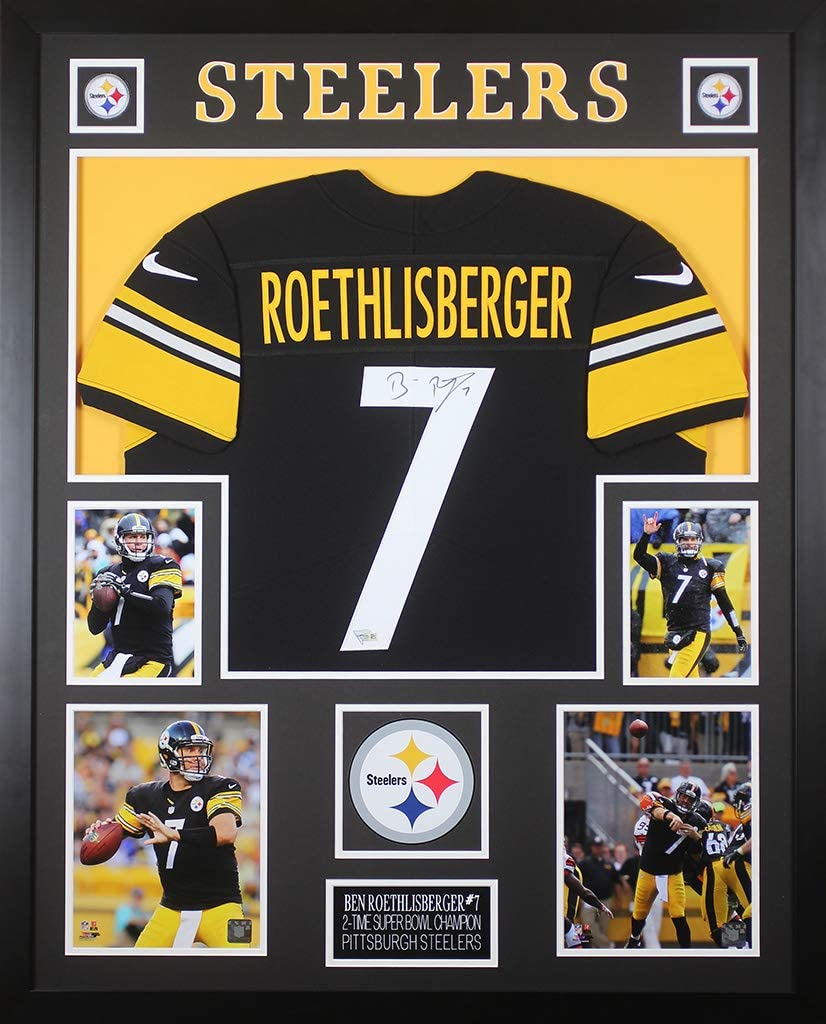 Ben Roethlisberger Autographed Black Steelers Jersey - Beautifully Matted and Framed - Hand Signed By Ben Roethlisberger and Certified Authentic by ...