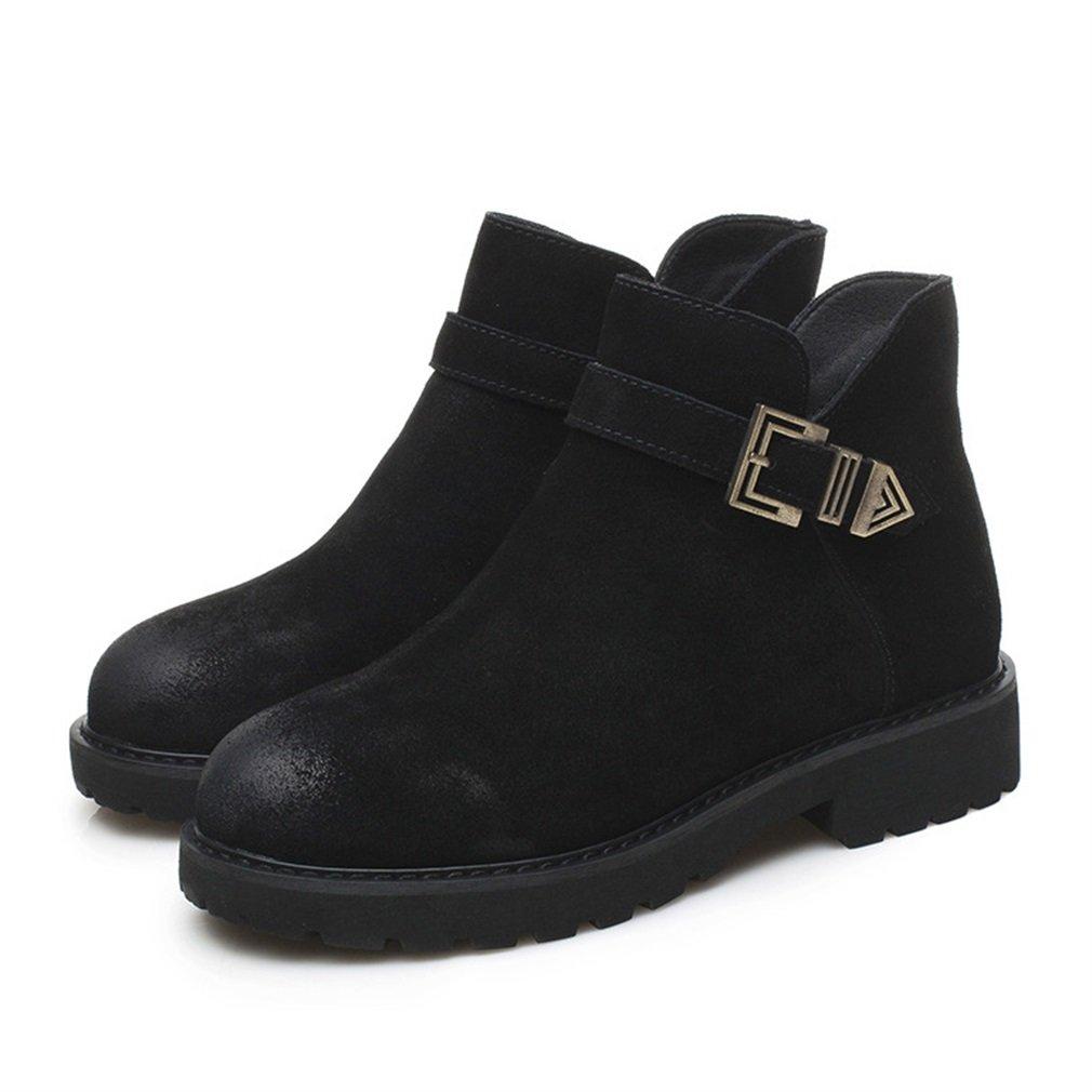 Xianshu boucle zip bottes chaussures round 19903 toe rétro rétro bottes Noir 9346bd0 - shopssong.space