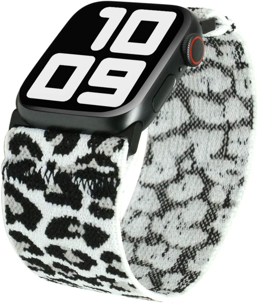 Tefeca Fashion Series Ultra Wide Patterned Elastic Compatible/Replacement Band for Apple Watch (White Leopard, S fits Wrist Size : 6.0-6.5 inch, 42/44mm)