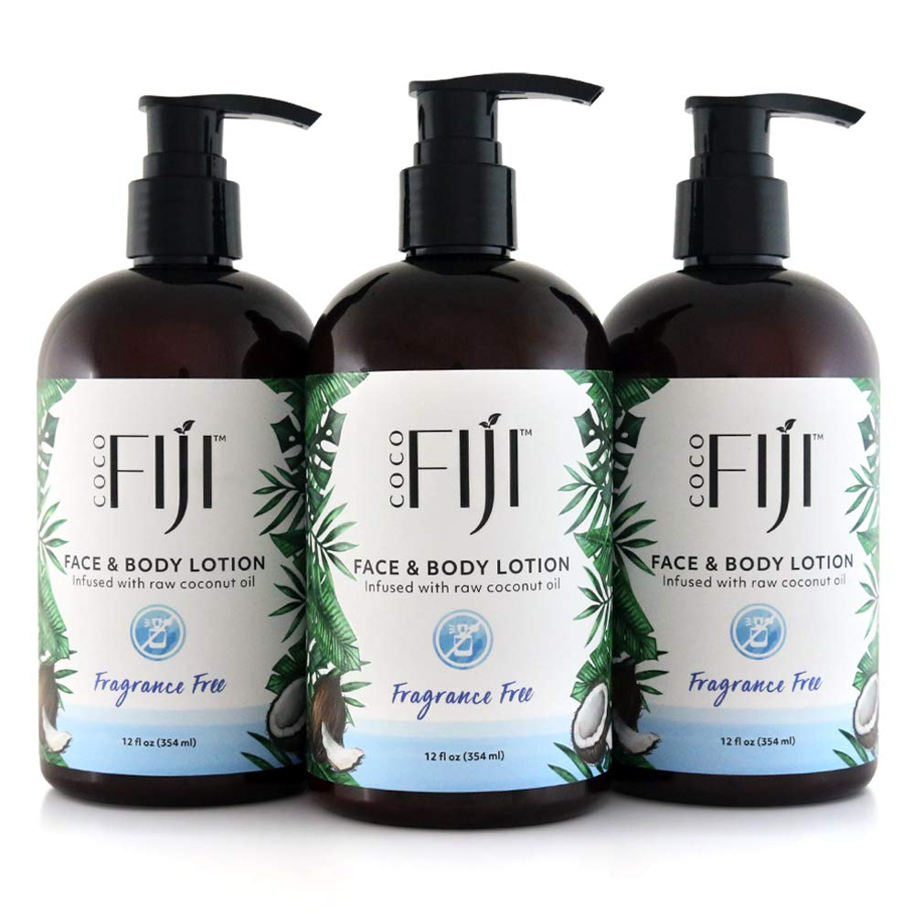 New Coco Fiji, Coconut Oil Infused Face & Body Lotion, Fragrance Free 12oz (3pk)