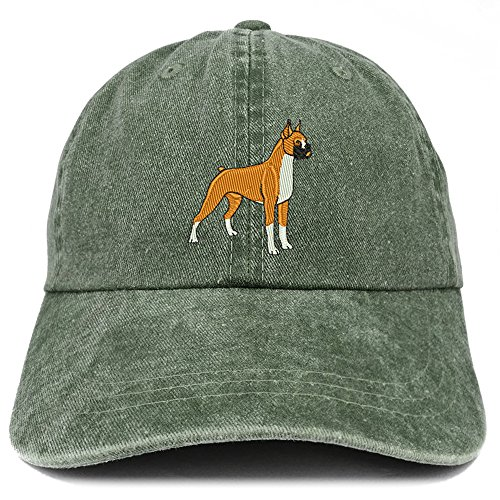 Trendy Apparel Shop Boxer Embroidered Dog Theme Low Profile Dad Hat Cotton Cap - Dark Green